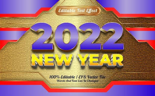 Gelukkig nieuwjaar 2022 blauw en geel gouden textuur bewerkbaar teksteffect