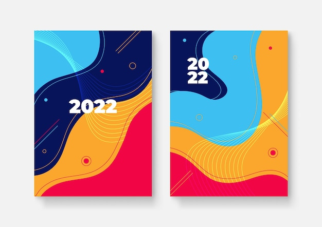 Gelukkig nieuwjaar 2022 cover design geklets, vectorillustratie. jaarverslag 2022, toekomst, business, sjabloonlay-outontwerp, omslagboek. vectorillustratie, presentatie abstracte platte achtergrond