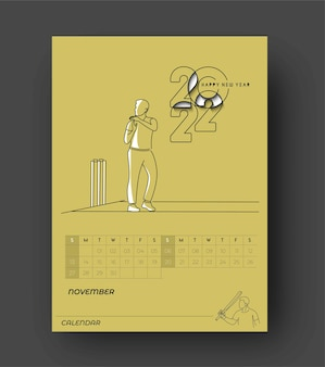 Gelukkig nieuwjaar 2022 cricket kalender - nieuwjaarsvakantie ontwerpelementen voor kerstkaarten, kalender banner poster voor decoraties, vector illustratie achtergrond.