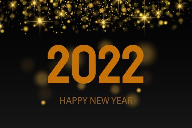 Gelukkig nieuwjaar 2022! elegante gouden tekst met achtergrondverlichting. minimalistische tekst. goudstof. wenskaart, spandoek, poster. illustratievector. een vonk schijnt op een zwarte achtergrond.