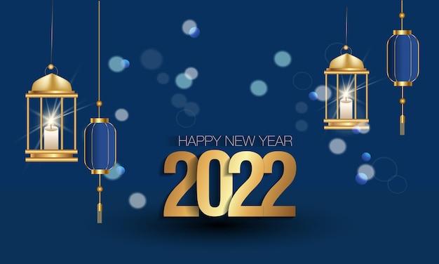 Gelukkig nieuwjaar 2022 elegante gouden tekst. minimalistische vectorillustratie