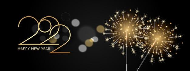Gelukkig nieuwjaar 2022 elegante gouden tekst realistisch gouden vuurwerk en bingala-verlichting