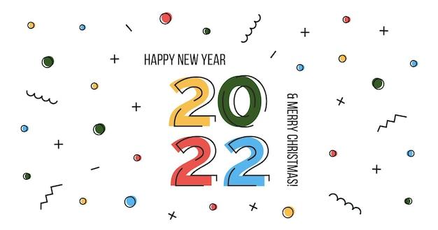 Gelukkig nieuwjaar 2022 en merry christmas wenskaart of horizontale webbanner in plat abstract ontwerp met getallen. memphis geometrische poster xmas eve viering met confetti. vector illustratie.