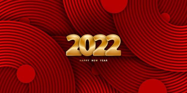 Gelukkig nieuwjaar 2022 feestelijke rode achtergrond met gouden cijfers 3d