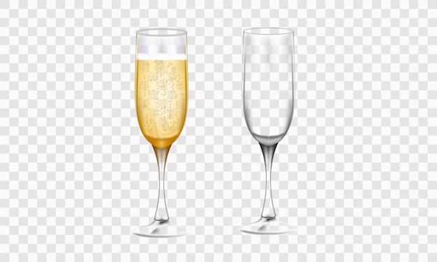 Gelukkig nieuwjaar 2022. glazen champagne en gouden elegante belettering. vector