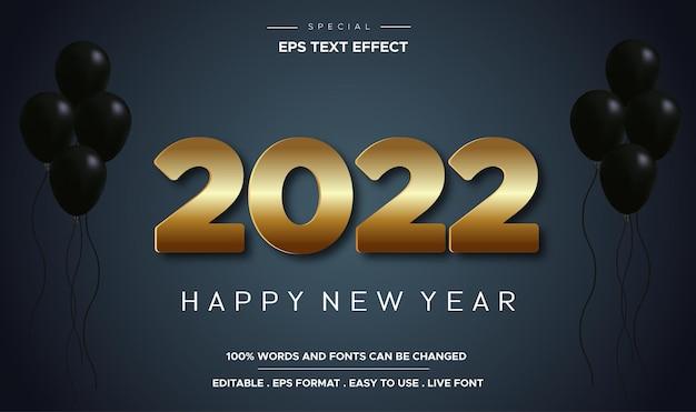 Gelukkig nieuwjaar 2022 goud bewerkbaar 3d-teksteffect