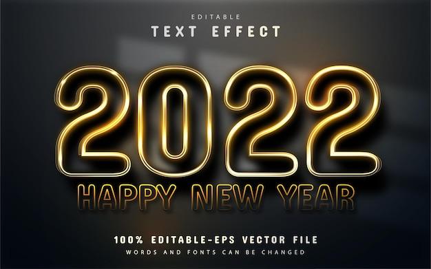 Gelukkig nieuwjaar 2022 goud glanzend 3d bewerkbaar teksteffect