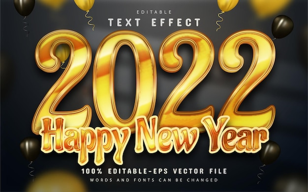 Gelukkig nieuwjaar 2022 gouden 3d-teksteffect bewerkbaar