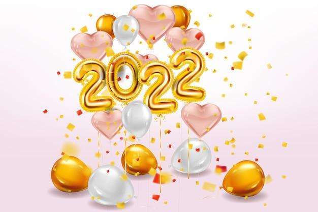 Gelukkig nieuwjaar 2022 gouden ballonnen podium studio gouden folie cijfers roze harten ballonnen