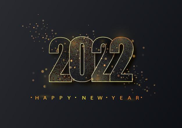 Gelukkig nieuwjaar 2022 gouden halftone glanzende nummers op een zwarte achtergrond. feest poster, spandoek of uitnodiging goud glinsterende glitter decoratie.