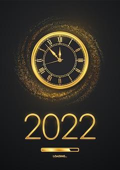 Gelukkig nieuwjaar 2022. gouden metalen nummers 2022, gouden horloge met romeinse cijfers en countdown middernacht met laadbalk op glinsterende achtergrond. barstende achtergrond met glitters. vector illustratie.