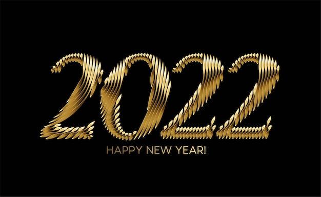 Gelukkig nieuwjaar 2022 gouden tekst typografie ontwerp geklets, vectorillustratie.