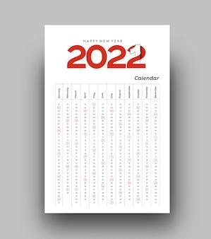Gelukkig nieuwjaar 2022 kalender - nieuwjaarsvakantie ontwerpelementen voor kerstkaarten, kalender banner poster voor decoraties, vector illustratie achtergrond.