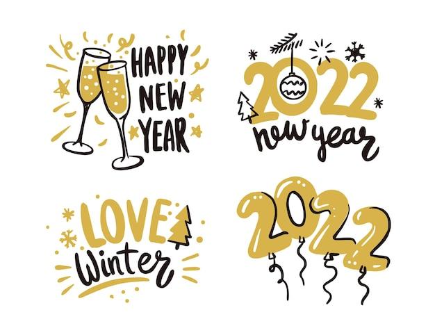 Gelukkig nieuwjaar 2022 kalligrafische belettering tekst ontwerp kaarten set.