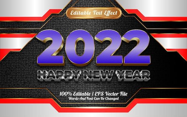 Gelukkig nieuwjaar 2022 luxe blauw en wit goud modern bewerkbaar teksteffect
