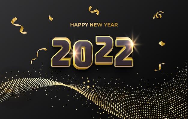 Gelukkig nieuwjaar 2022 luxe gouden feestkaart met glinsterende deeltjes en confetti abstracte achtergrond