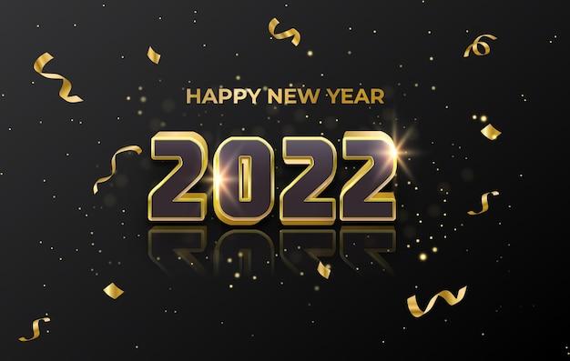 Gelukkig nieuwjaar 2022 luxe gouden wenskaart abstracte achtergrond
