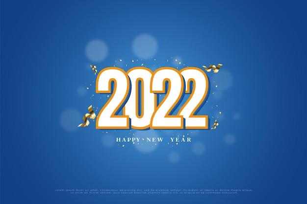 Gelukkig nieuwjaar 2022 met 3d-nummersillustratie met gouden lintdecoratie