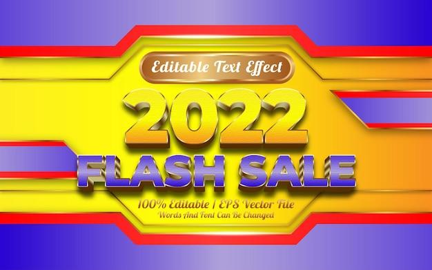Gelukkig nieuwjaar 2022 met bewerkbare teksteffect gouden stijl voor flash-verkoop