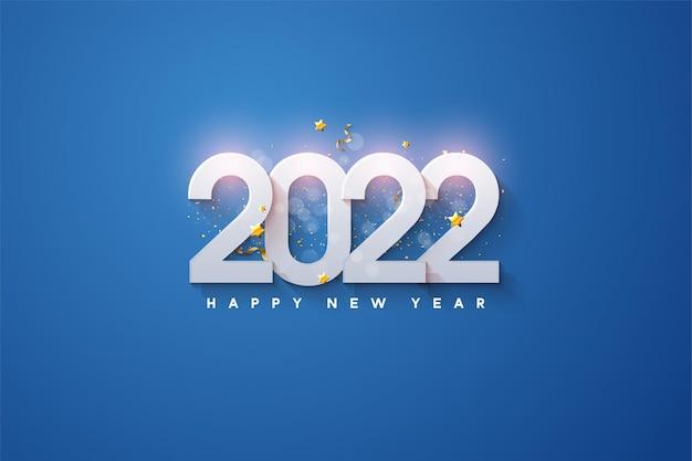 Gelukkig nieuwjaar 2022 met cijfers boven elkaar