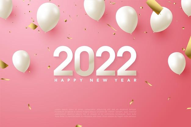 Gelukkig nieuwjaar 2022 met cijfers en ballonnen