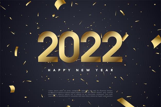 Gelukkig nieuwjaar 2022 met cijfers en goudpapier