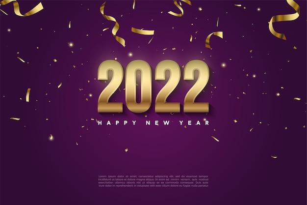 Gelukkig nieuwjaar 2022 met cijfers en vallende linten