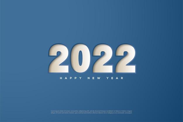 Gelukkig nieuwjaar 2022 met cijfers gedrukt op een blauwe achtergrond