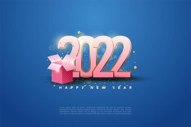 Gelukkig nieuwjaar 2022 met cijfers op geschenkdoos