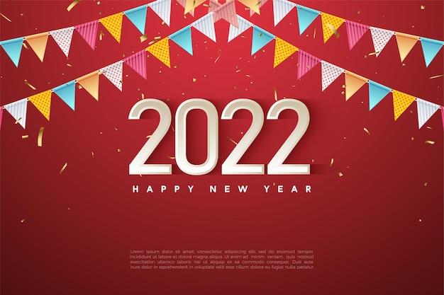 Gelukkig nieuwjaar 2022 met een rij kleurrijke vlaggen