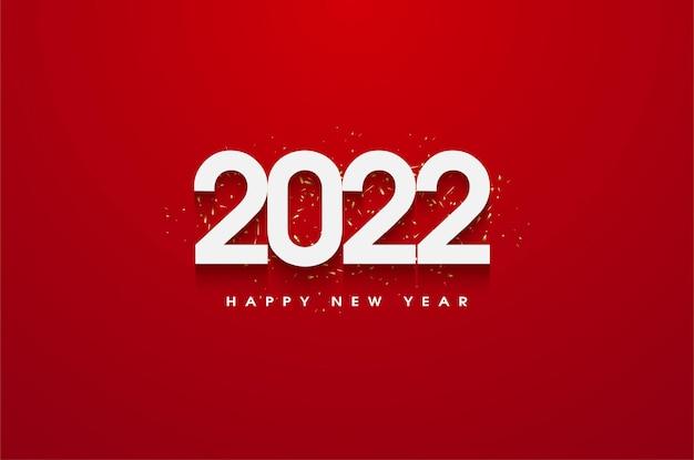 Gelukkig nieuwjaar 2022 met een rode achtergrond