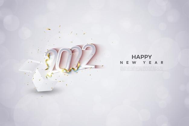 Gelukkig nieuwjaar 2022 met figuurillustratie die uit de doos springt