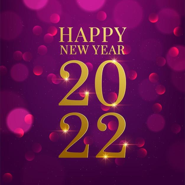 Gelukkig nieuwjaar 2022 met getallen op de bokeh-achtergrond