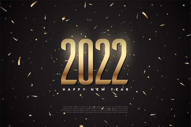 Gelukkig nieuwjaar 2022 met gouden cijfers en stippen