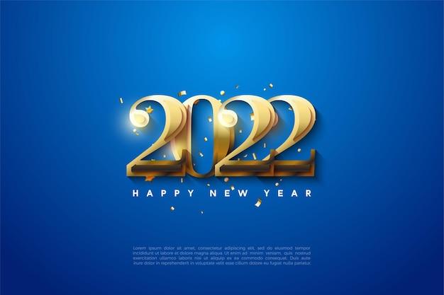 Gelukkig nieuwjaar 2022 met gouden cijfers op een blauwe achtergrond