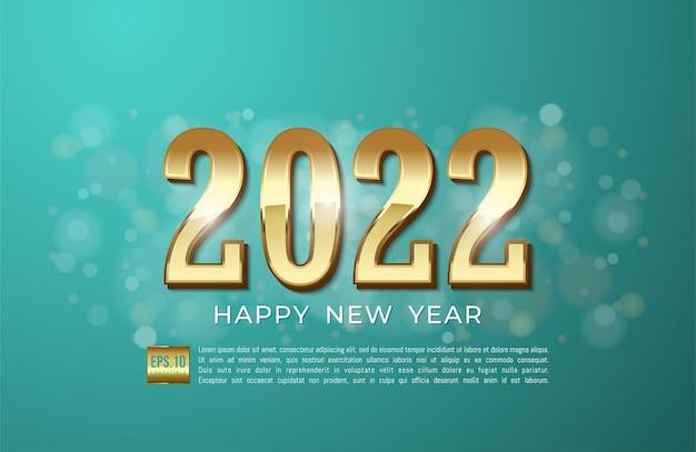 Gelukkig nieuwjaar 2022 met gouden lint en glitter op cyaan achtergrond