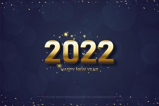 Gelukkig nieuwjaar 2022 met gouden lint gesneden onder en boven