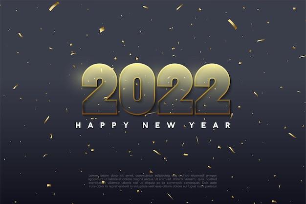 Gelukkig nieuwjaar 2022 met gouden omrande transparante cijfers
