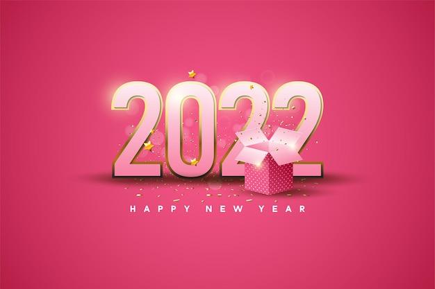 Gelukkig nieuwjaar 2022 met illustratie van de geschenkdoos