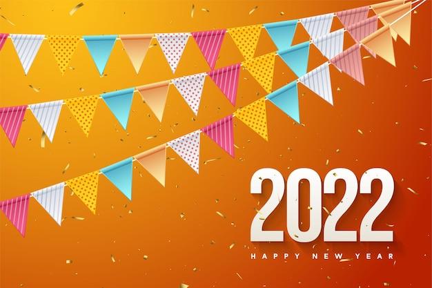 Gelukkig nieuwjaar 2022 met kleurrijke cijfers en vlaggen
