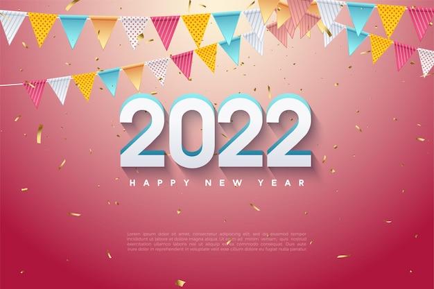 Gelukkig nieuwjaar 2022 met kleurrijke vlaggen