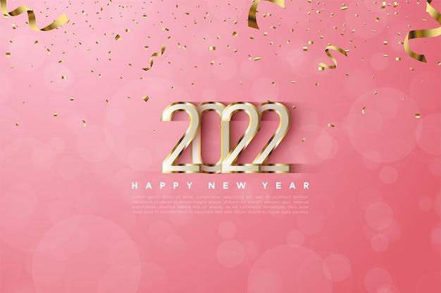 Gelukkig nieuwjaar 2022 met luxe gouden rand Premium Vector