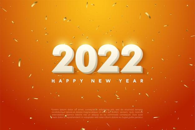 Gelukkig nieuwjaar 2022 met nummers op gouden gestippelde oranje achtergrond