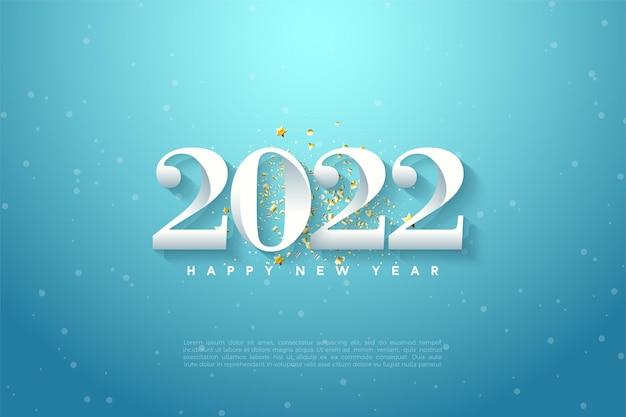 Gelukkig nieuwjaar 2022 met nummers op hemelsblauwe achtergrond