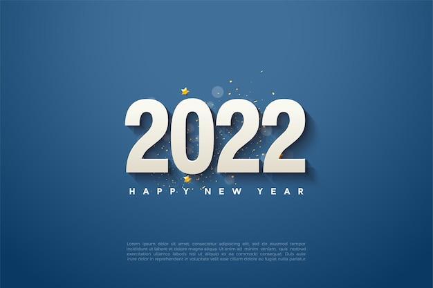 Gelukkig nieuwjaar 2022 met nummers op marineblauwe achtergrond