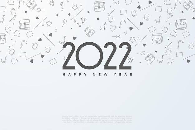 Gelukkig nieuwjaar 2022 met picturale achtergrond