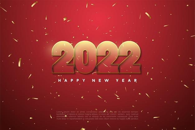 Gelukkig nieuwjaar 2022 met transparante cijfers op een rode achtergrond
