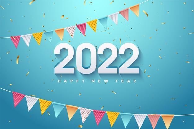 Gelukkig nieuwjaar 2022 met twee rijen kleurrijke vlaggen