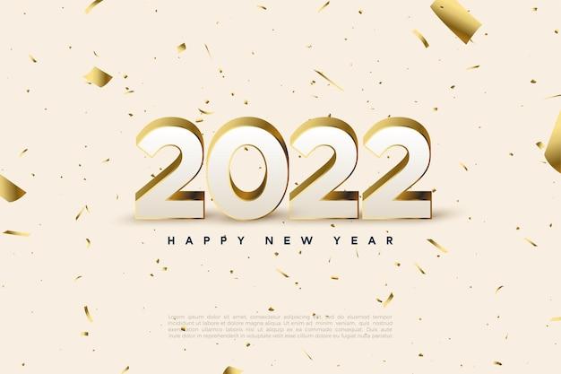 Gelukkig nieuwjaar 2022 met verspreide gouden cijfers en papier