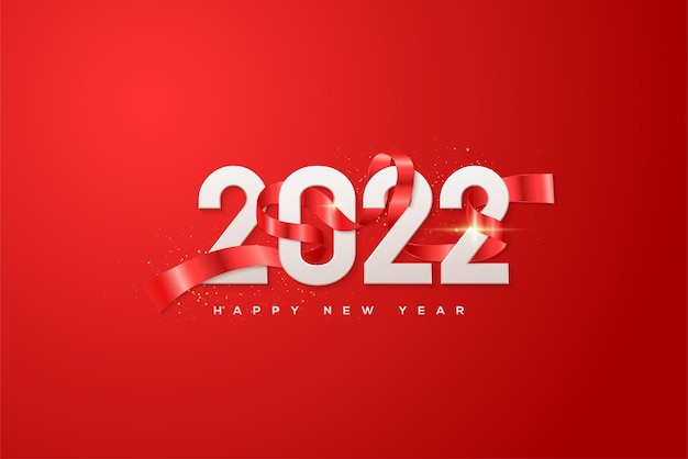 Gelukkig nieuwjaar 2022 met witte cijfers verpakt in rood lint